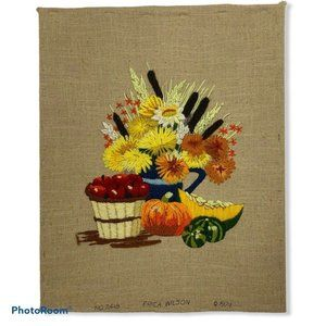 VTG 70s Fall Pumpkin Vegetable Floral Crewel Art